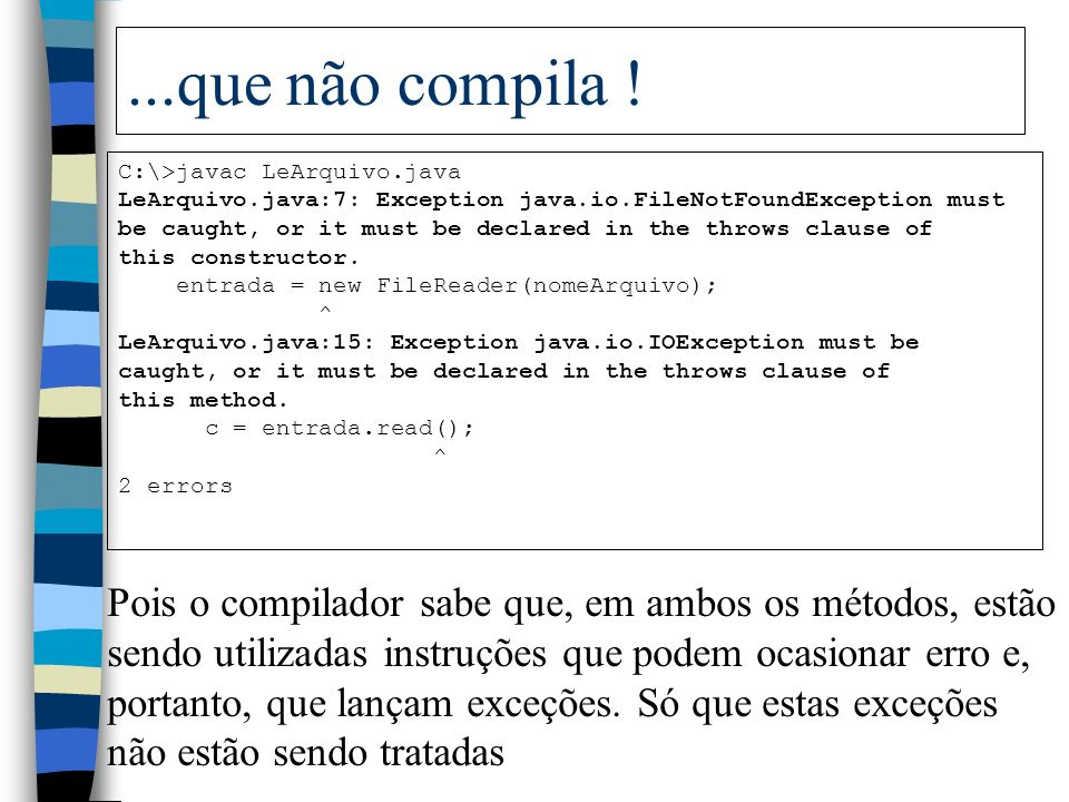 ...que não compila ! C:\>javac LeArquivo.java. LeArquivo.java:7: Exception java.io.FileNotFoundException must.