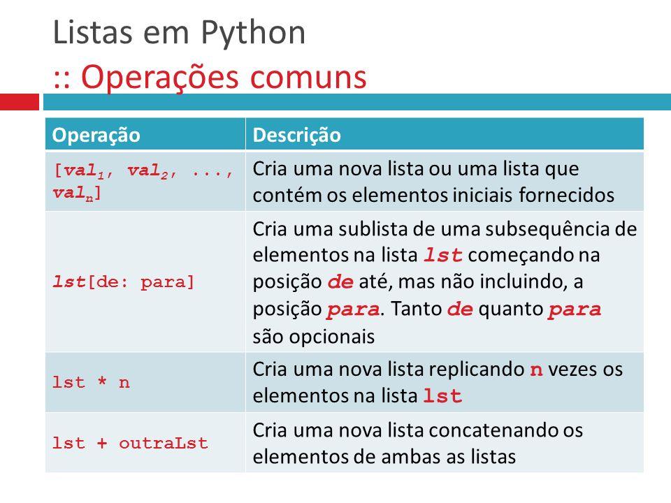 Listas em Python :: Operações comuns