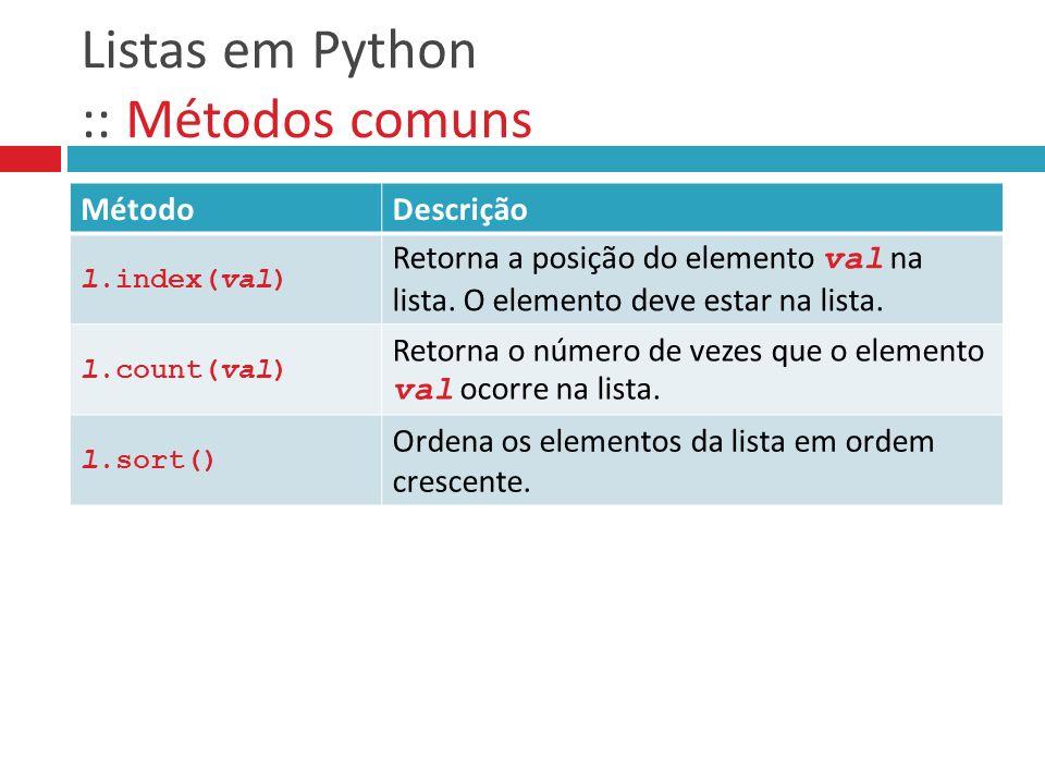 Listas em Python :: Métodos comuns