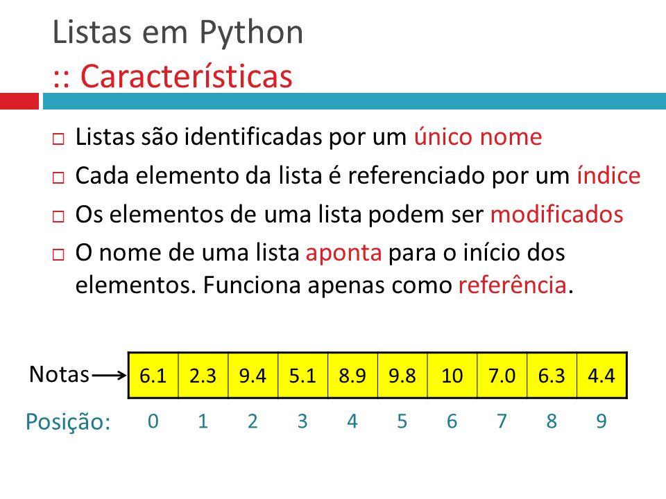 Listas em Python :: Características