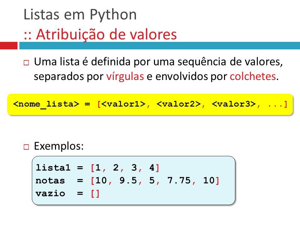 Listas em Python :: Atribuição de valores