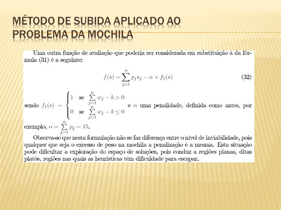 Método de Subida aplicado ao Problema da Mochila