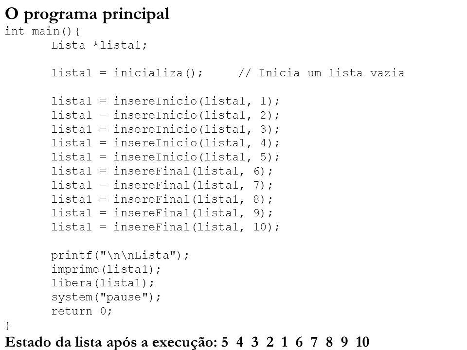 O programa principal int main(){. Lista. lista1;