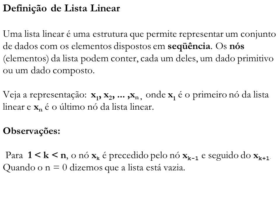 Definição de Lista Linear Uma lista linear é uma estrutura que permite representar um conjunto de dados com os elementos dispostos em seqüência.