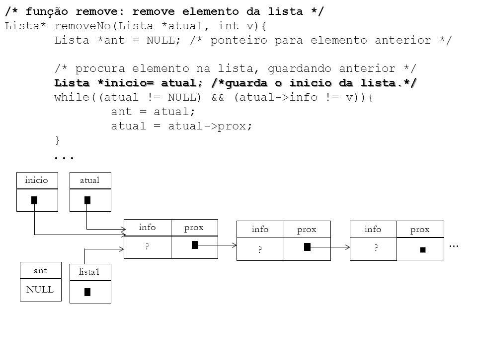 /. função remove: remove elemento da lista. / Lista. removeNo(Lista