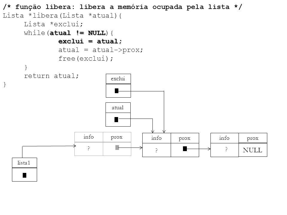 /. função libera: libera a memória ocupada pela lista. / Lista