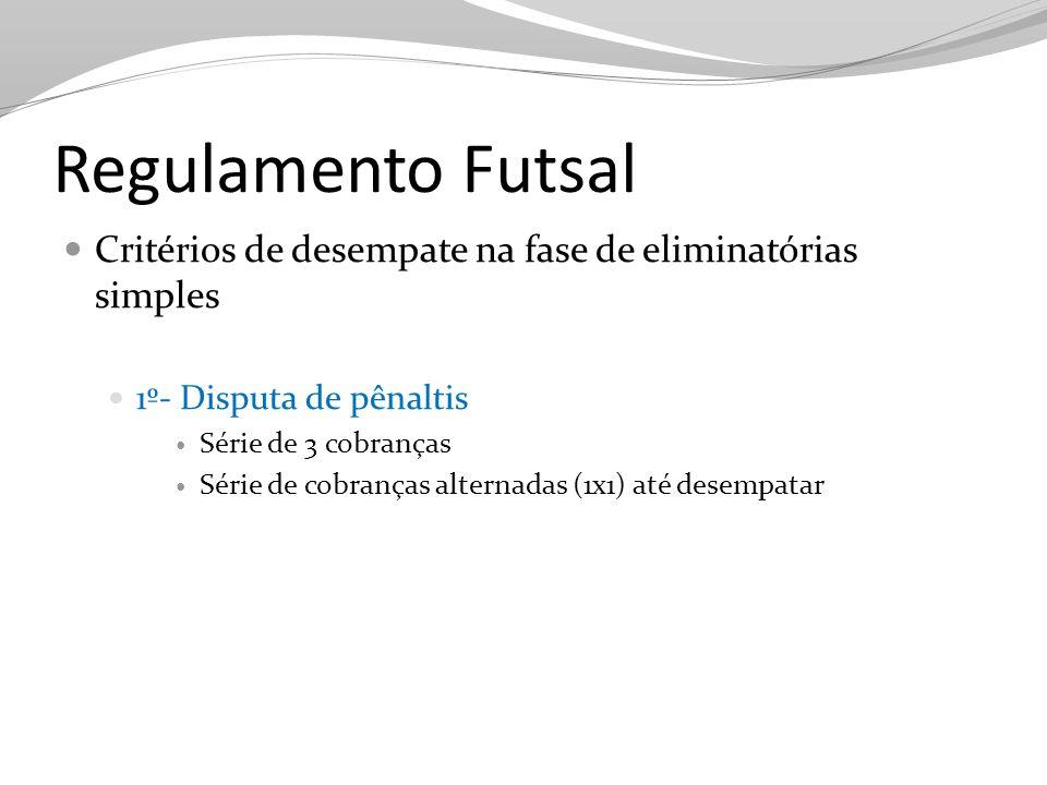Regulamento Futsal Critérios de desempate na fase de eliminatórias simples. 1º- Disputa de pênaltis.