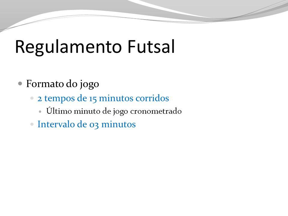 Regulamento Futsal Formato do jogo 2 tempos de 15 minutos corridos
