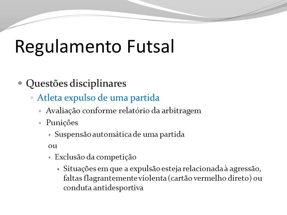 Regulamento Futsal Questões disciplinares