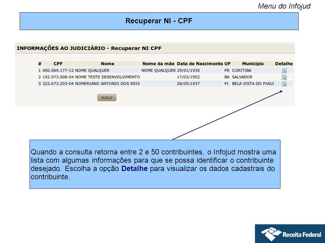 Menu do Infojud Recuperar NI - CPF.