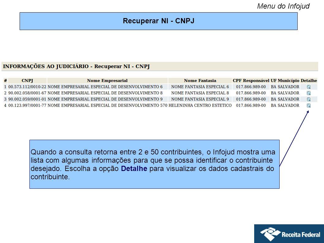 Menu do Infojud Recuperar NI - CNPJ.
