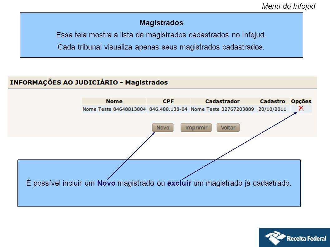 Essa tela mostra a lista de magistrados cadastrados no Infojud.