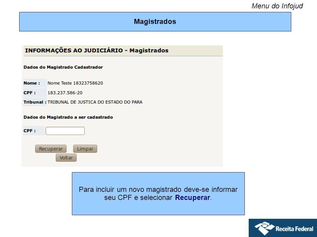 Menu do Infojud Magistrados.