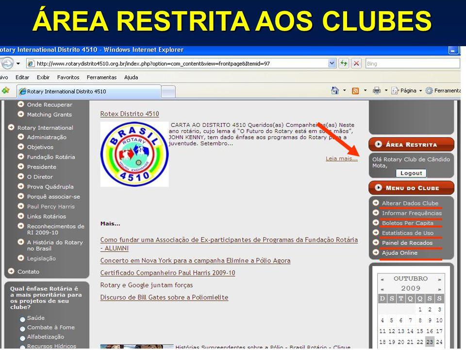ÁREA RESTRITA AOS CLUBES
