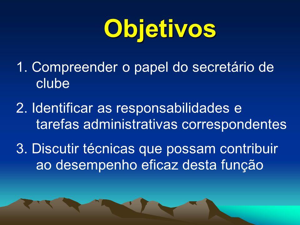 Objetivos 1. Compreender o papel do secretário de clube