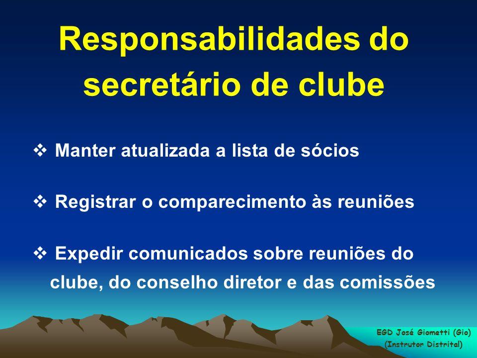 Responsabilidades do secretário de clube