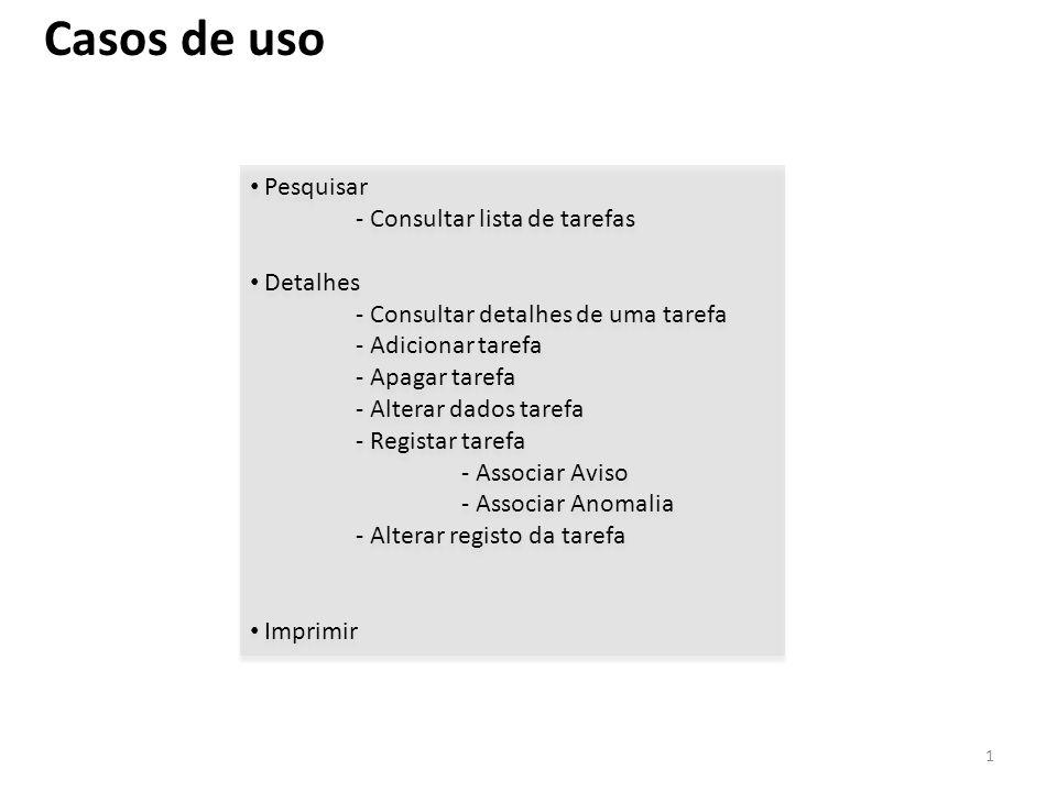 Casos de uso Pesquisar - Consultar lista de tarefas Detalhes