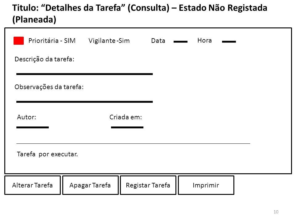 Titulo: Detalhes da Tarefa (Consulta) – Estado Não Registada (Planeada)