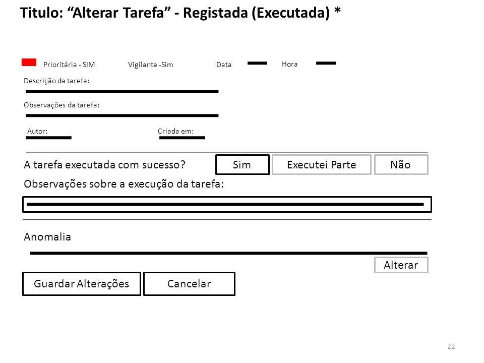 Titulo: Alterar Tarefa - Registada (Executada) *