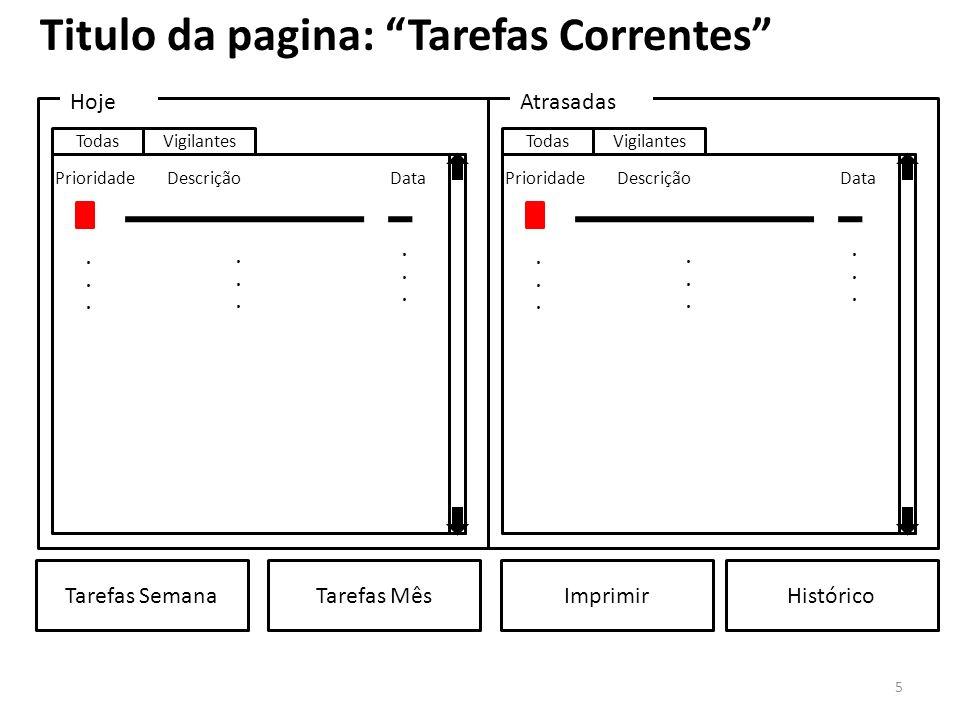 Titulo da pagina: Tarefas Correntes
