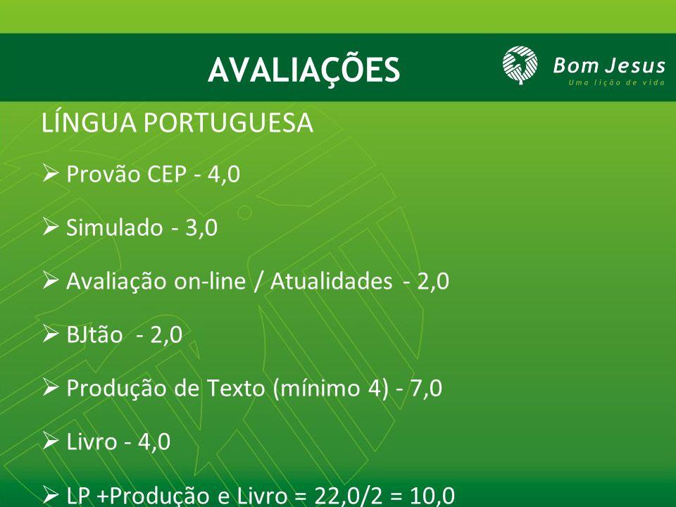 AVALIAÇÕES LÍNGUA PORTUGUESA Provão CEP - 4,0 Simulado - 3,0