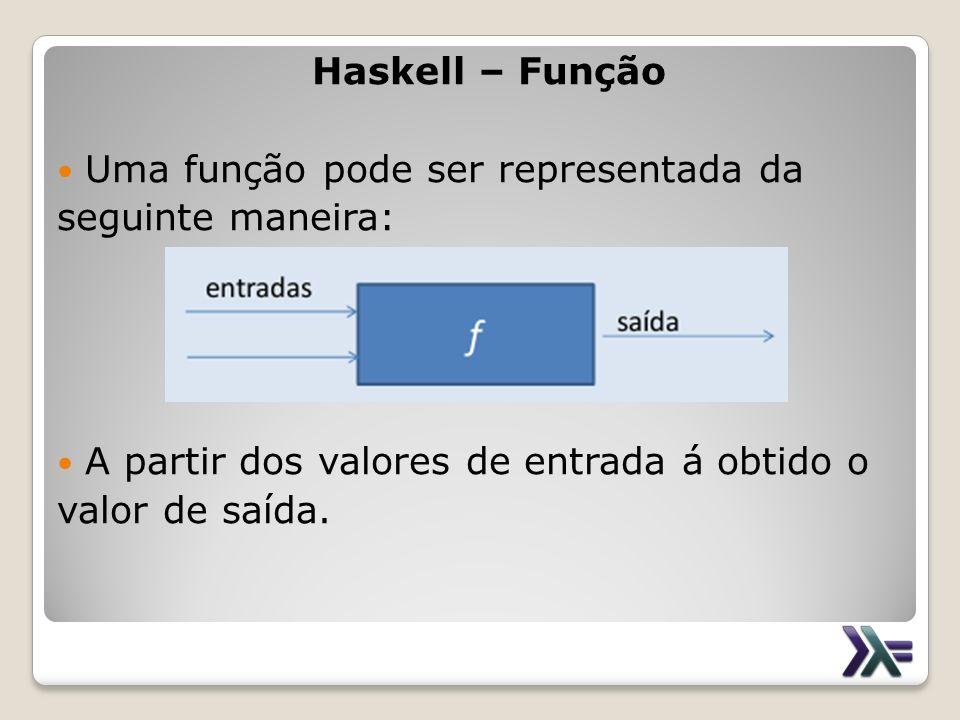 Haskell – Função Uma função pode ser representada da. seguinte maneira: A partir dos valores de entrada á obtido o.