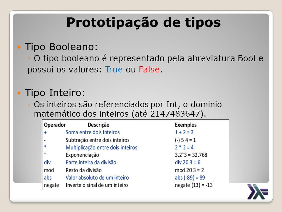 Prototipação de tipos Tipo Booleano: Tipo Inteiro: