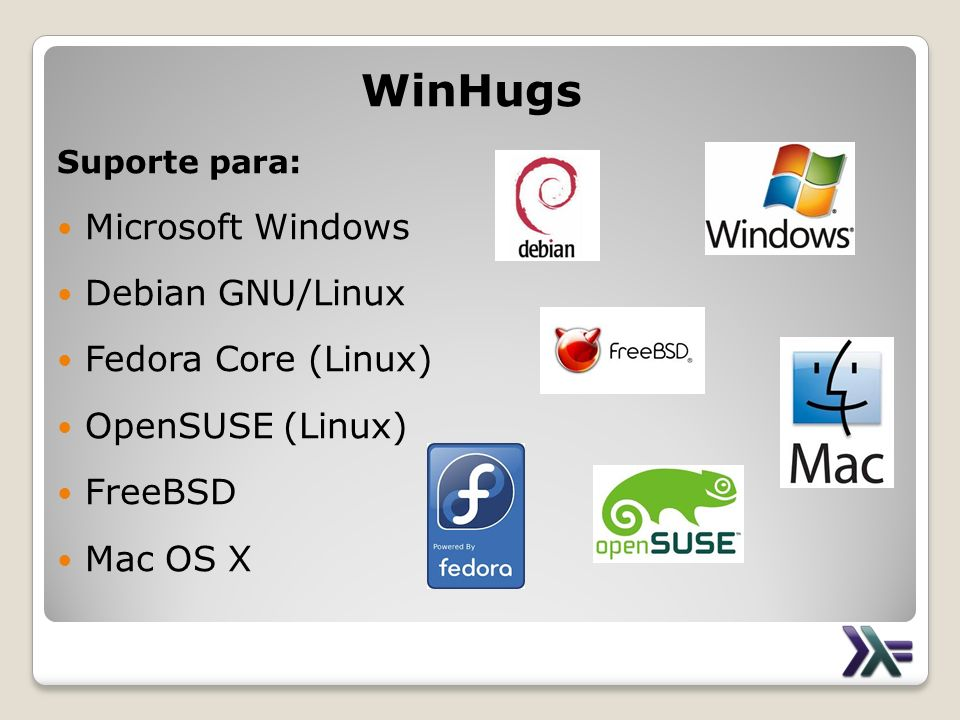 WinHugs Microsoft Windows Debian GNU/Linux Fedora Core (Linux)