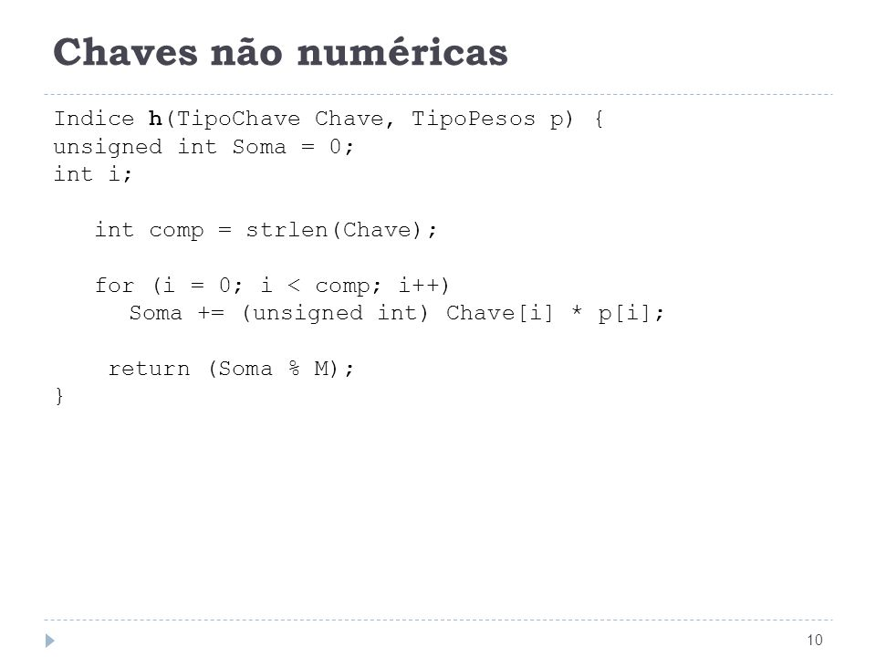 Chaves não numéricas Indice h(TipoChave Chave, TipoPesos p)‏ {