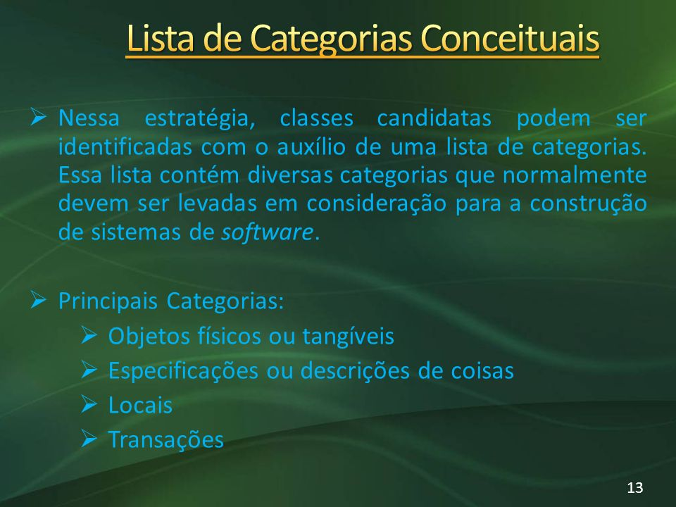 Lista de Categorias Conceituais