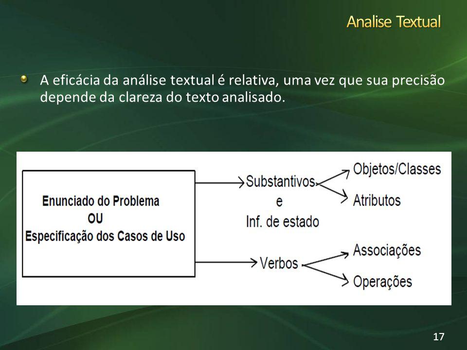 Analise Textual A eficácia da análise textual é relativa, uma vez que sua precisão depende da clareza do texto analisado.
