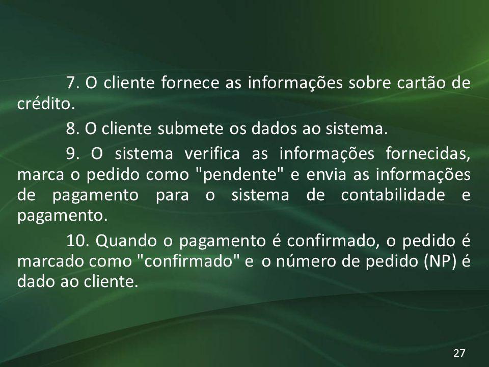 7. O cliente fornece as informações sobre cartão de crédito. 8