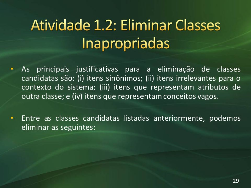 Atividade 1.2: Eliminar Classes Inapropriadas