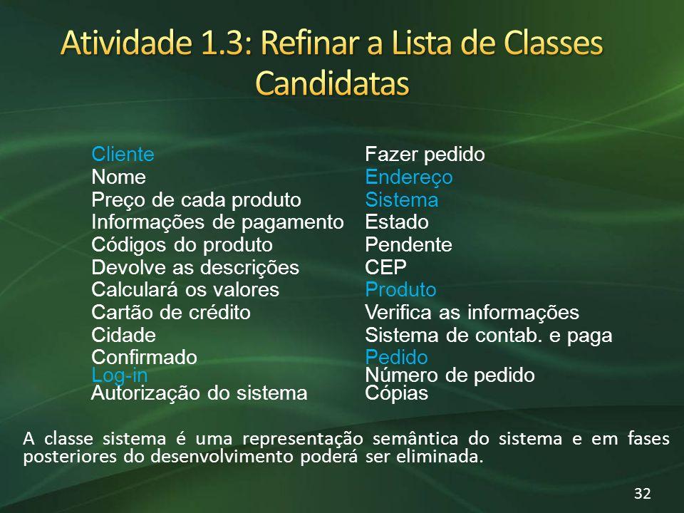 Atividade 1.3: Refinar a Lista de Classes Candidatas