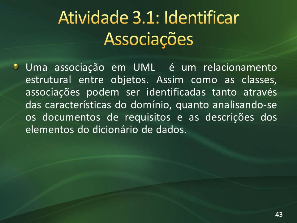 Atividade 3.1: Identificar Associações