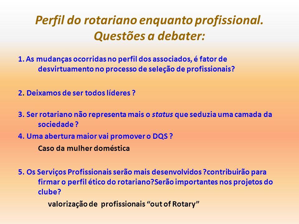 Perfil do rotariano enquanto profissional. Questões a debater: