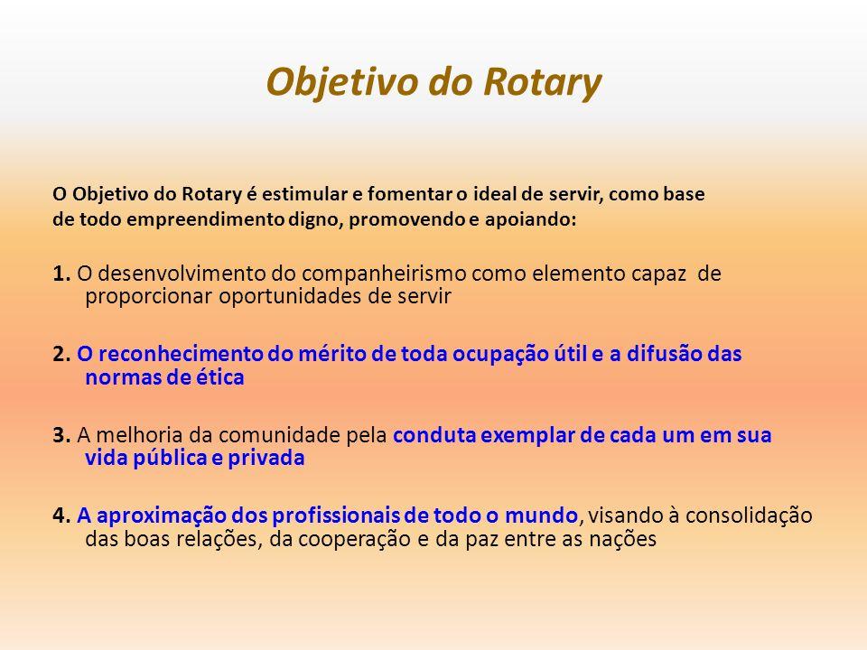Objetivo do Rotary O Objetivo do Rotary é estimular e fomentar o ideal de servir, como base. de todo empreendimento digno, promovendo e apoiando: