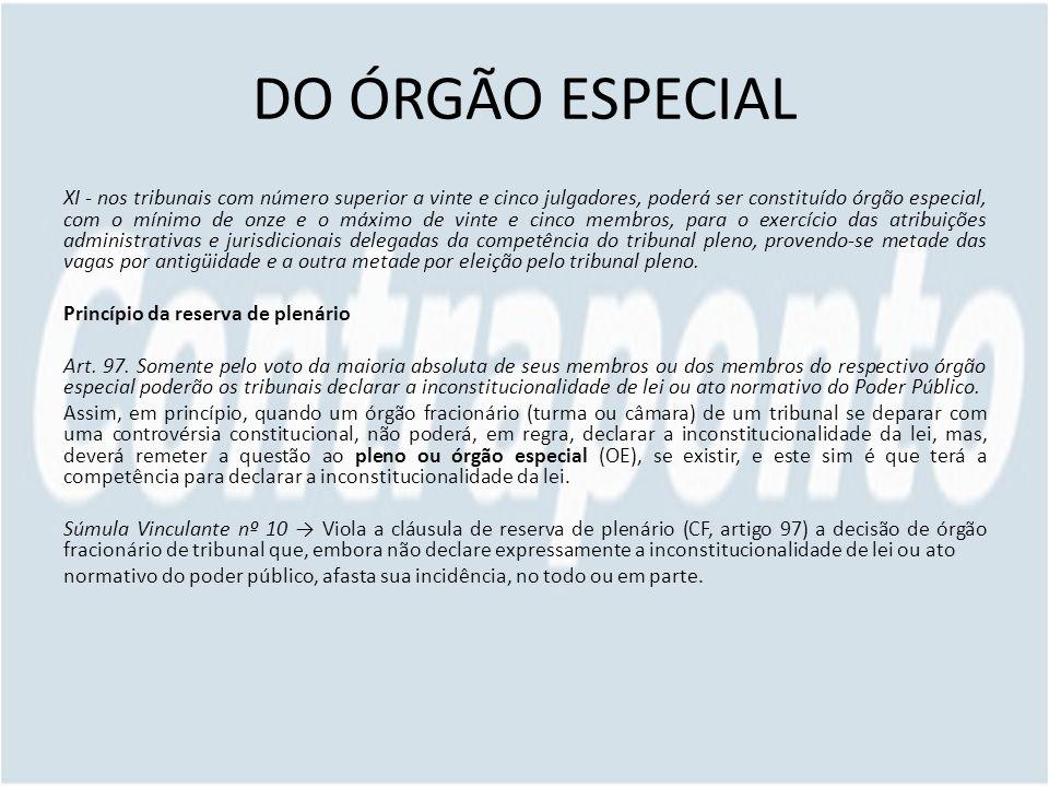 DO ÓRGÃO ESPECIAL