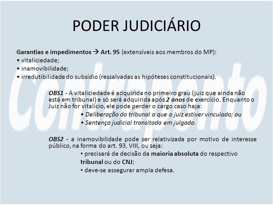 PODER JUDICIÁRIO Garantias e impedimentos  Art. 95 (extensíveis aos membros do MP): • vitaliciedade;