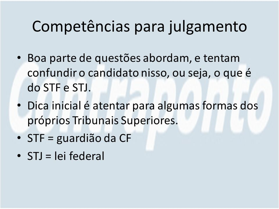 Competências para julgamento
