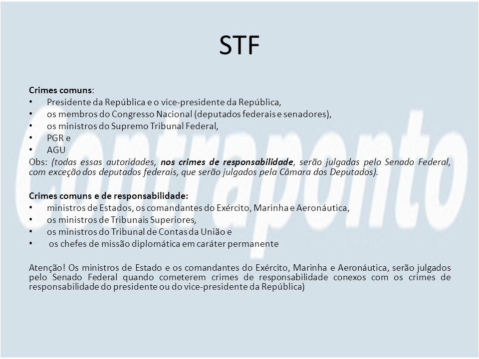 STF Crimes comuns: Presidente da República e o vice-presidente da República, os membros do Congresso Nacional (deputados federais e senadores),