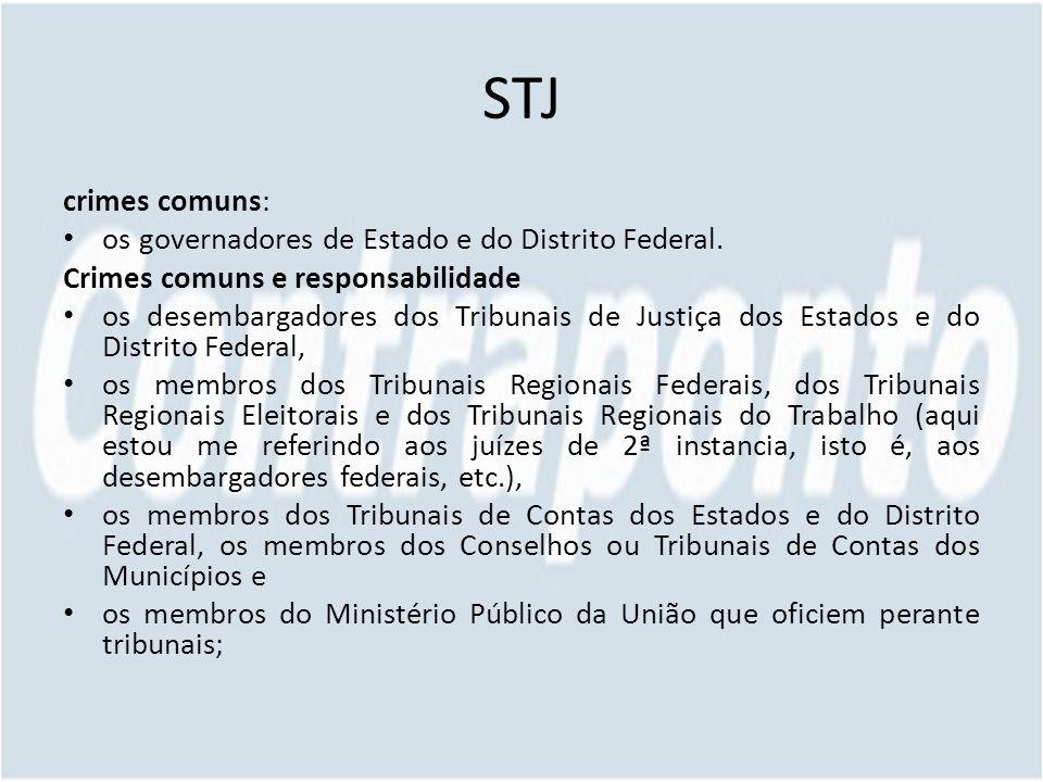 STJ crimes comuns: os governadores de Estado e do Distrito Federal.