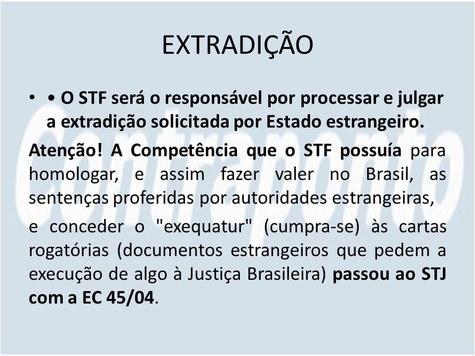 EXTRADIÇÃO • O STF será o responsável por processar e julgar a extradição solicitada por Estado estrangeiro.
