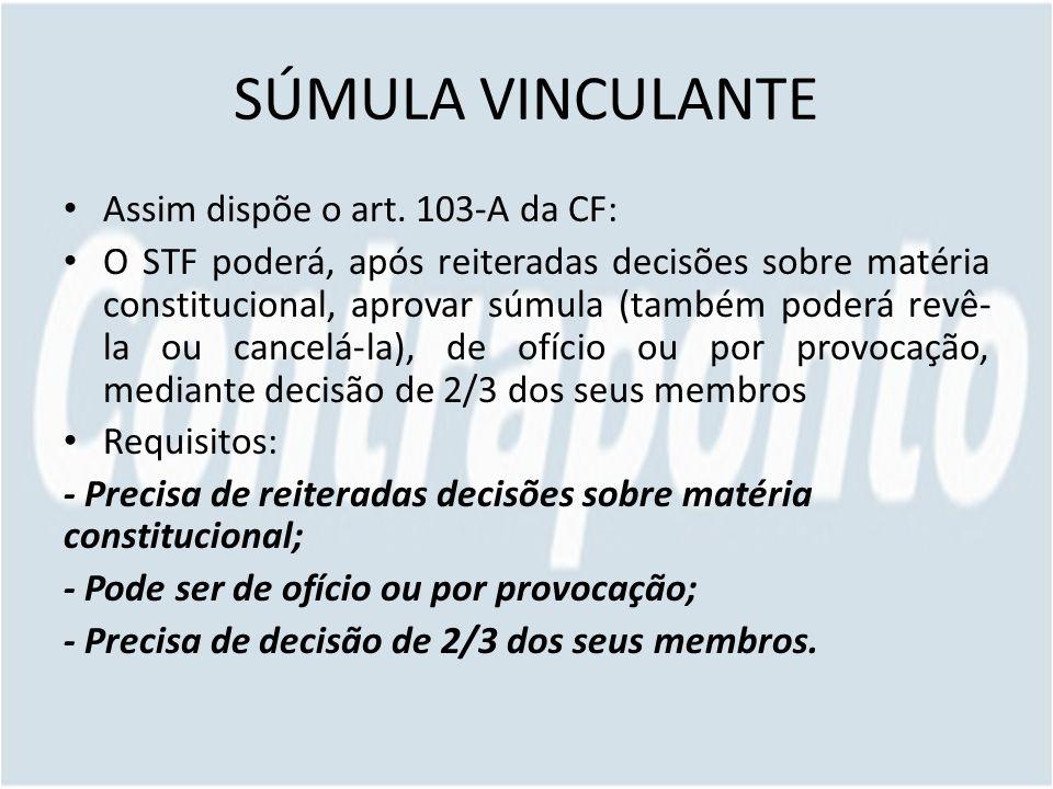SÚMULA VINCULANTE Assim dispõe o art. 103-A da CF: