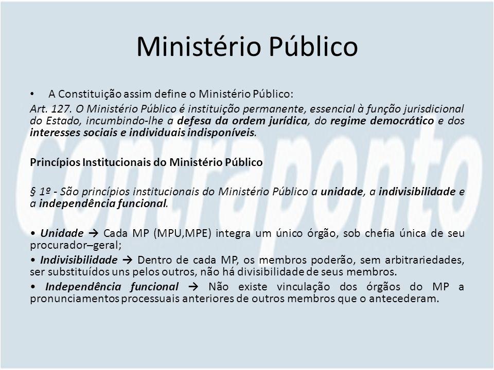 Ministério Público A Constituição assim define o Ministério Público: