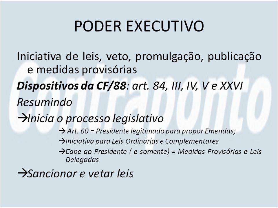 PODER EXECUTIVO Iniciativa de leis, veto, promulgação, publicação e medidas provisórias. Dispositivos da CF/88: art. 84, III, IV, V e XXVI.