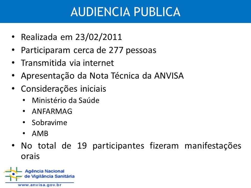 AUDIENCIA PUBLICA Realizada em 23/02/2011