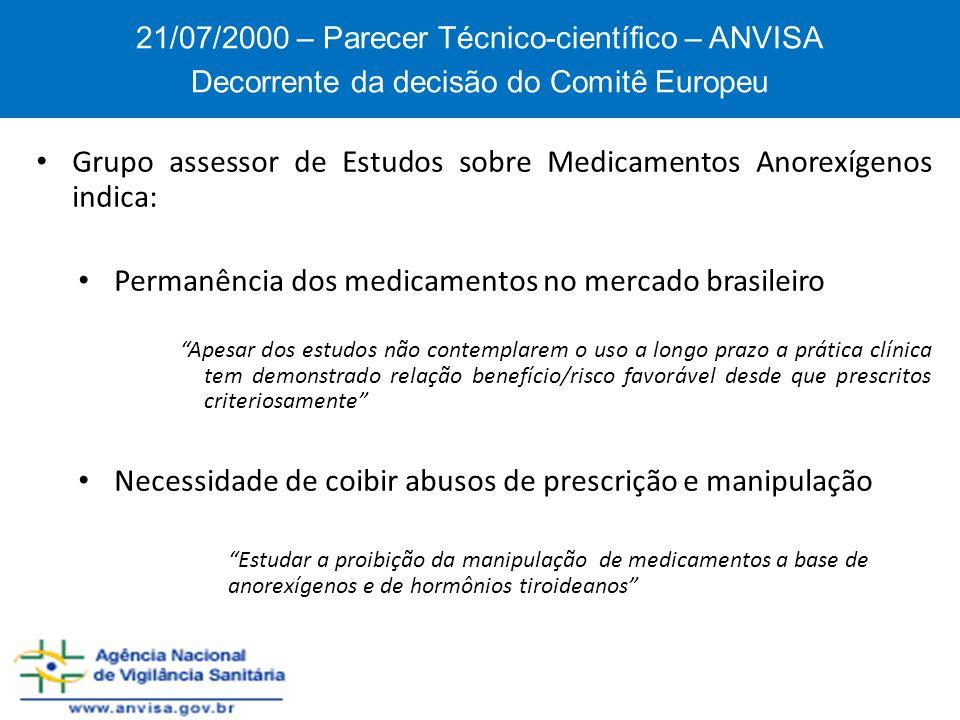 Grupo assessor de Estudos sobre Medicamentos Anorexígenos indica: