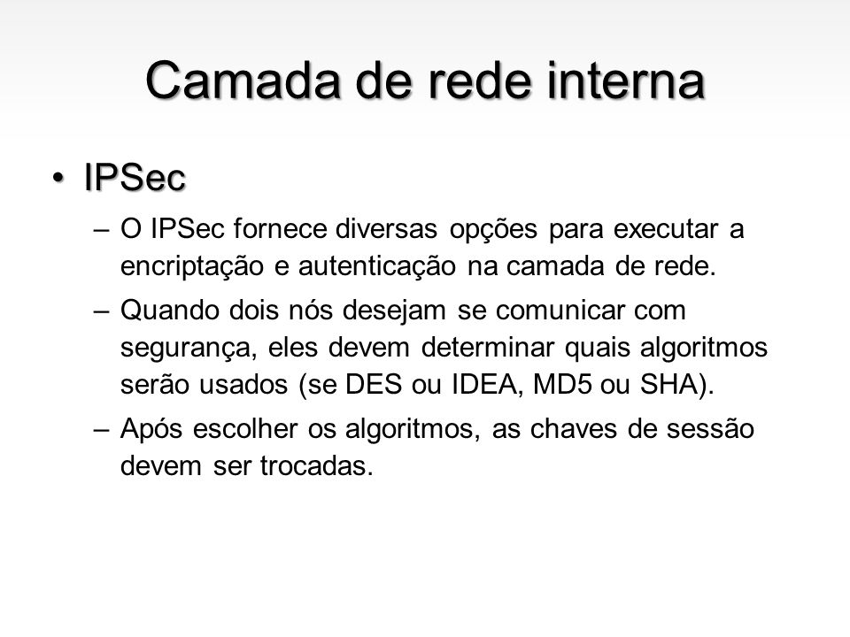 Camada de rede interna IPSec