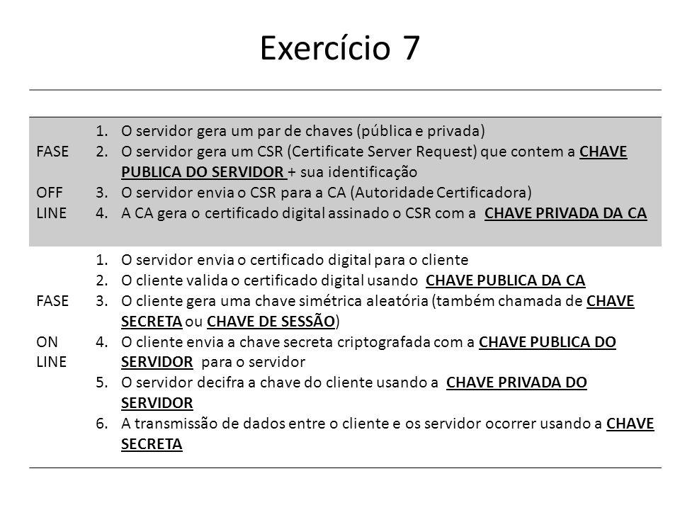 Exercício 7 FASE OFF LINE